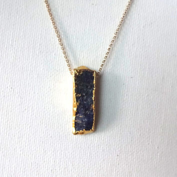 Handmade 22k Gold Edged Lapis & 14k Gold Chain Pendant Necklace; Royal Blue Colored Stone; Natural Statement Holiday Pendant Necklace