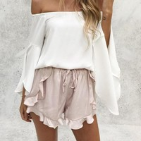 Ruffled High Waisted Loose Shorts