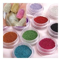 SODIAL- Fashion Caviar Nails Art New 12 Colors plastic Beads Manicures or Pedicures Nail Art Hot Sa