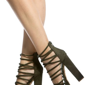 Olive Faux Suede Multi Strap Chunky Platform Heels @ Cicihot Heel Shoes online store sales:Stiletto Heel Shoes,High Heel Pumps,Womens High Heel Shoes,Prom Shoes,Summer Shoes,Spring Shoes,Spool Heel,Womens Dress Shoes