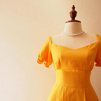 Happily Ever After - Doll Sleeve Dress Mustard Yellow Bridesmaid Dress Sweetheart Party Dress Vintage La La Land Dress Swing Dress