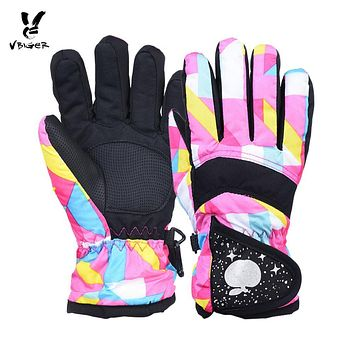 VBIGER Kids Winter Warm Gloves Waterproof Thicken Gloves Mittens Children Kid Ski Sports Outddor Gloves