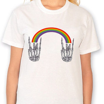 Rainbow Skeleton Hand Rock Out Shirt Louis Tomlinson Inspired Shirt