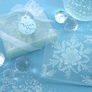 "Artisano Designs ""Shimmering Snow Crystal"" Frosted Snowflake Glass Coasters, Set of 4"