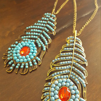 Long statement necklace Turquoise beads feather charm Gold plated Antique Gold necklace
