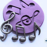 Music Note Trio Mold/Mould - Clef Note Eighth Note  - Silicone Molds - Polymer Clay Resin Fondant