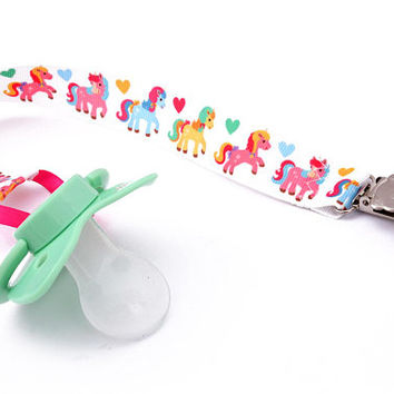 Adult baby pacifier clip - ABDL soother clip - DDLG unicorn and hearts dummy chain abdl ddlg little little space