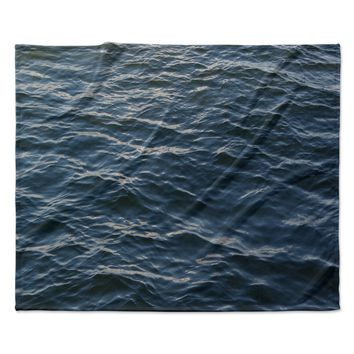 "Suzanne Carter ""Deep Water"" Nautical Blue Fleece Throw Blanket"