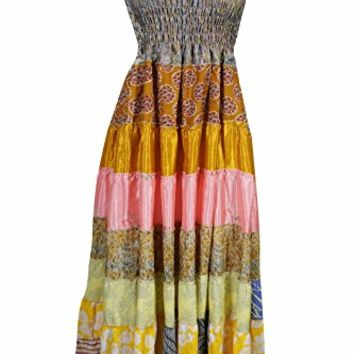 Mogul Womens Maxi Dress Recycled Vintage Sari Patchwork Smocked Bodice Holiday Sundress (Multi 3)