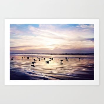 dusk on the beach Art Print by sylviacookphotography