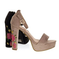 Thomas28 Chunky Block Heel Embroidered Sandal, Women's Floral Heel Shoe