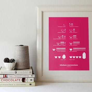 $28.00 Kitchen Conversions Hot Pink 13 x 19 Poster by SweetFineDay