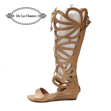 Sexy Women Party Gladiator Sandals Rome PU Leather Buckle Strappy Cage Knee High Boots Summer Shoes Open Toe Flat Sandals