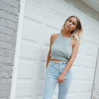 Marled Knit Cropped Cami
