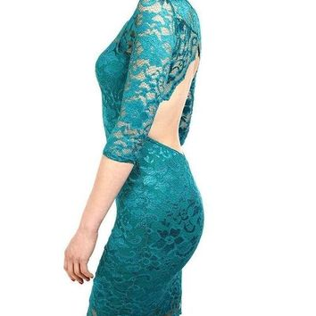 Turquoise Lace Open Back Bodycon Dress