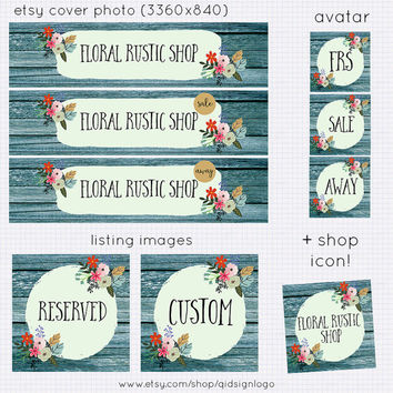 Premade Rustic Etsy banner, Shop Banner Wood Floral Set, Etsy Kit Business Branding,