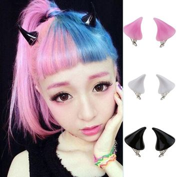2 pcs Lady Girl Cosplay Costume Little Devil Horns Candy Colored Hairpin Hair Clip New