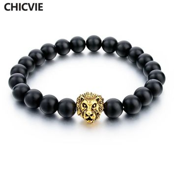 CHICVIE Natural Stone Gold Color Lion strand Bracelet Femme Beads Bracelets With Stones Women Men Jewelry 2017