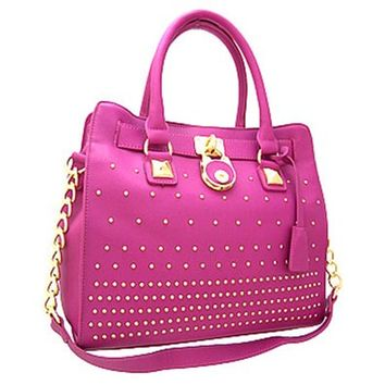 Classy! Chain Shoulder Strap Studded Handbag Purse (Fuchsia)