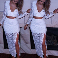 FASHION DEEP V LACE TWO-PIECE DRESS