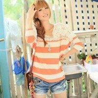 Lacework Splicing Cool Stripe Red Blouses : Wholesaleclothing4u.com