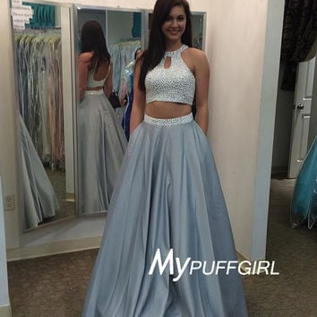 2016 Beaded Crop Top Two Piece Gown , Silver Satin Halter Prom Dress
