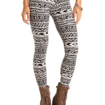 Cotton Tribal Printed Leggings by Charlotte Russe - Black/Ivory