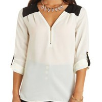 Sheer Chiffon Zip-Up Tunic Top by Charlotte Russe