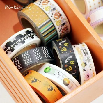 1.5cm*10m Kawaii Halloween Pumpkin Black Cat Skull Bat Washi Tape Japanese Masking Tape
