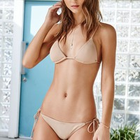 LA Hearts Ribbed Triangle Bikini Top - Womens Swimwear - Nude
