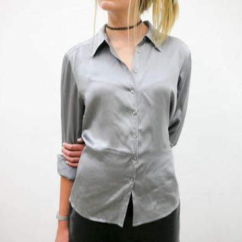 vtg 90's minimalist silver silk button blouse, metallic long sleeve shirt, 1990s ironic vtg tumblr soft grunge vaporwave aesthetic fashion