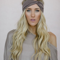 Fashion Turband, Cute Hair Bands, Dark Taupe Turban, Stretchy Solid Turban, Twist Headband (HB-152)