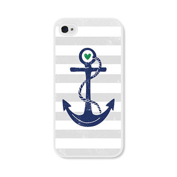 Striped Anchor Apple iPhone 4 Case - Plastic iPhone 4 Case - Nautical iPhone Case Skin - Cobalt Blue Navy Blue Grey White Cell Phone