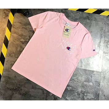 Champion cursive letter have a nice day couple short-sleeved T-shirt F-XMCP-YC Pink