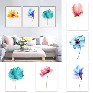 1 Pc  Modern Abstract Wall Art Decoration DIY Watercolor Plant Flowers Painting Bedroom Living Room Decoration Painting
