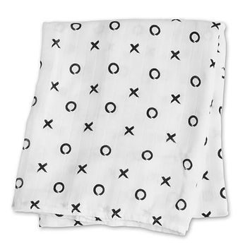 Hugs & Kisses - Black & White Bamboo Swaddle Blanket