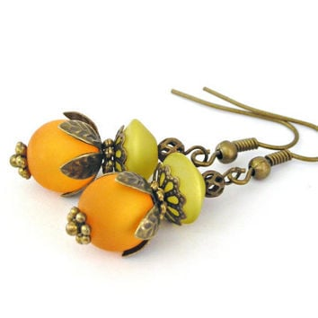 Tangerine and pistachio fruit vintage style by TyssHandmadeJewelry