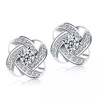 White Gold and Crystal Love Knot Earrings-Hollywood Sensation-Gold Knot Stud Earrings