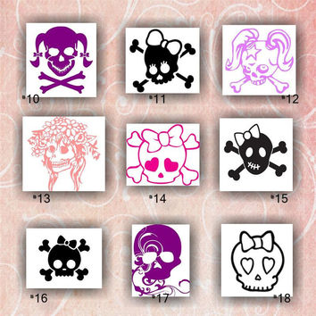 GIRLY SKULLS vinyl decals - 10-18 - vinyl stickers - car sticker - car decal - skulls with bows - skull and crossbones with bows