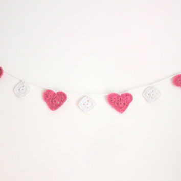 Crochet Heart Garland, Boho Decor, Dorm Decor, Gifts for Teens, Pink and White Nursery, Home Decor, Hanging, Doily Garland
