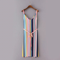 Multicolor Striped Print Side Slit Dress