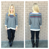 Grey Ethnic Embroidered Knit Sweater Top