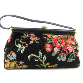 Black Carpet Bag Vintage 1960s Tapesty purse Floral knit Pattern handbag Retro Hipster Fashion Tote