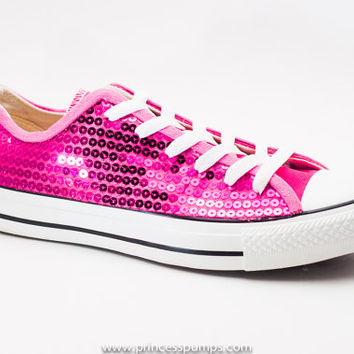 Hot Fuchsia Pink Sequin Canvas Converse from Princess Pumps 350ee287e06e