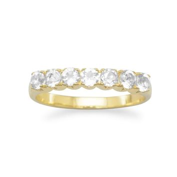 14k Gold over Sterling Silver White Topaz 7-Stone Anniversary Style Ring