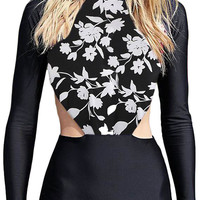 Black Long Sleeve One Piece Swimsuit with White Flower Print