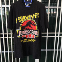 Vintage 90s Jurassic Park The Ride Universal Studio Hollywood 1996 Movie T Shirt Size M