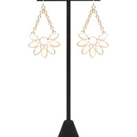 Faceted Stone Floral Drop Earrings   Wet Seal
