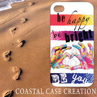 Apple iPhone 4 4G 4S 5G Hard Plastic or Rubber Cell Phone Case Cover Original Trendy Stylish Colorful Tye Die Quote Design