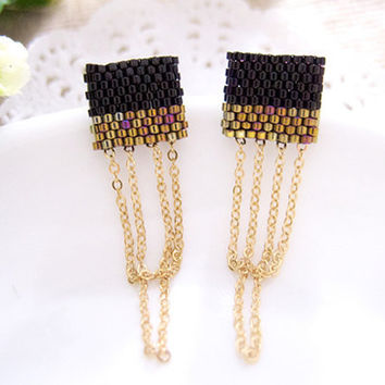 Black Gold Color Block Ear Studs with Chain by JeannieRichard